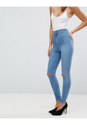 ASOS RIVINGTON High Waisted Jeans in Eddie Vintage Blue with Two Ripped Knees - Vintage mid blue