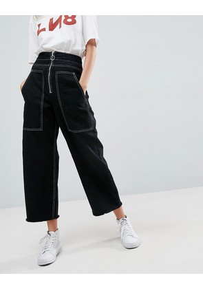 ASOS Wide Leg Utility Jeans With Big Pockets and Contract Stitch In Black - Black