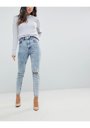 ASOS Super High Rise Firm Skinny Jeans in Acid Wash Blue with Ripped Knees - Mid blue