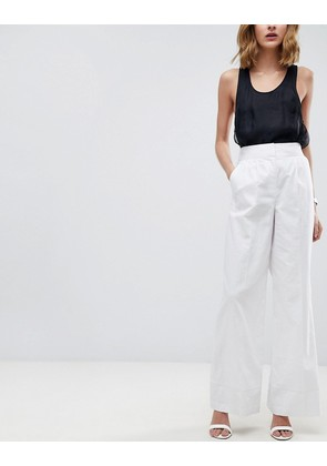 ASOS Tailored Clean Linen Wide Leg Trousers - White