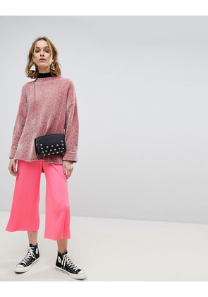 ASOS Pleated Plisse Culotte Trousers in Bright Pink - Pink