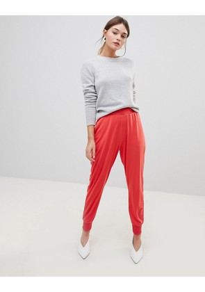 ASOS DESIGN formal tapered joggers in crepe - Coral