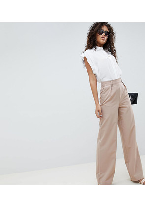 ASOS DESIGN Tall wide leg trousers with pleat detail - Safari