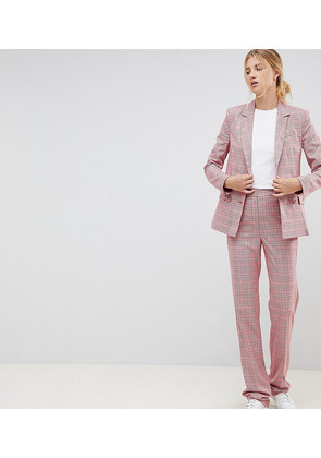 ASOS DESIGN Tall Tailored Slim Flare Trousers in Red Check - Check