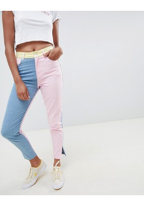 Hello Kitty x ASOS DESIGN colour block jeans with embroidery detail - Multi
