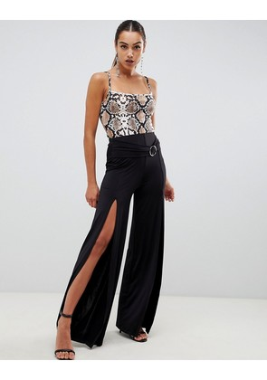 ASOS DESIGN slinky trousers with twist & drape with d-ring - Black
