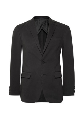 Dark-grey Unstructured Washed Stretch-cotton Twill Blazer
