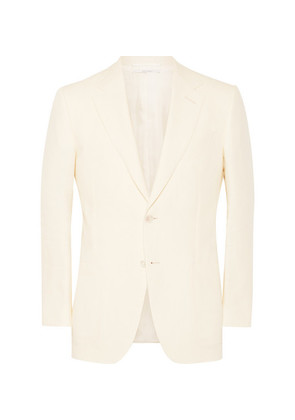 Cream Belgravia Slim-fit Linen Blazer