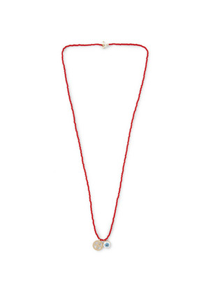 Glass Bead Enamelled Gold Necklace