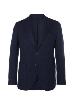 Navy Slim-fit Unstructured Herringbone Virgin Wool Blazer