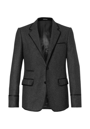Grey Silk Satin-trimmed Wool-felt Blazer