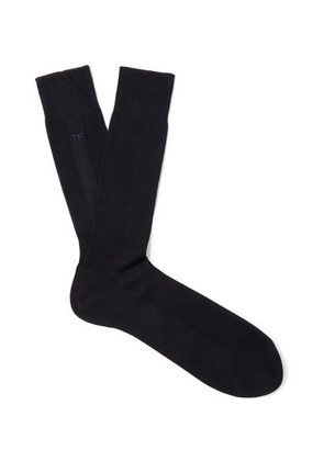 Embroidered Ribbed Cotton Socks
