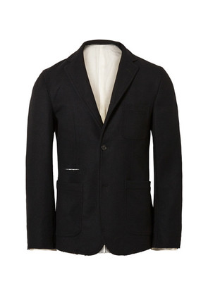 Black Slim-fit Unstructured Wool Blazer