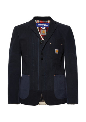 + Carhartt Midnight-blue Slim-fit Patchwork Cotton-canvas Blazer