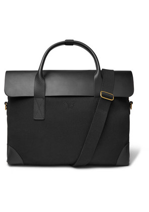 Twill And Full-grain Leather Briefcase