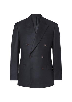 Navy Slim-fit Double-breasted Brushed-cashmere Blazer