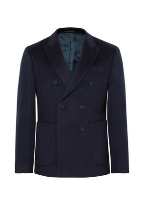 Midnight-blue Slim-fit Double-breasted Baby Camel Hair Blazer