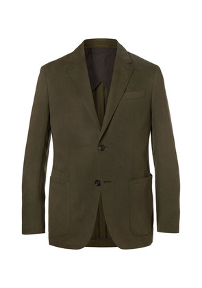 Olive Silk And Linen-blend Twill Suit Jacket