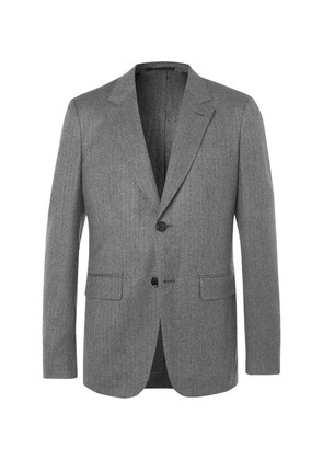 Grey Unstructured Herringbone Wool Suit Jacket