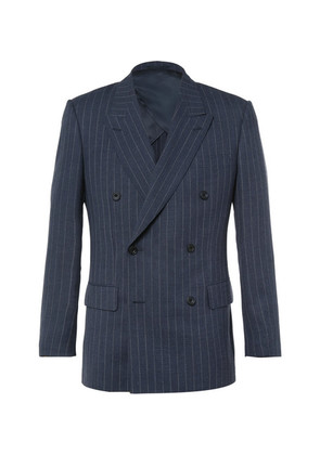 Harry's Blue Double-breasted Pinstriped Wool Suit Jacket