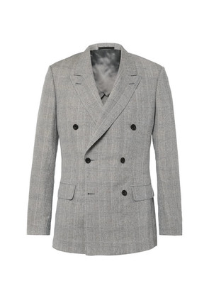 Harry's Grey Double-breasted Prince Of Wales Checked Linen, Wool And Silk-blend Suit Jacket
