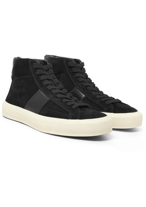 Leather-panelled Suede High-top Sneakers