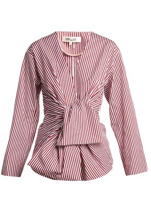 Striped waist-tie cotton blouse