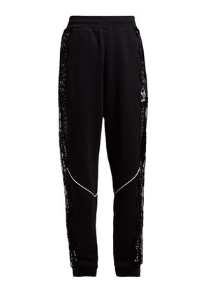 Lace insert stripe-trimmed trackpants