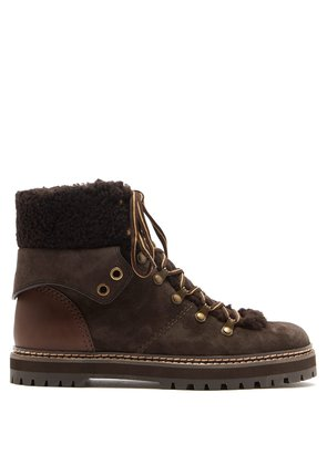 Suede and shearling lace-up ankle boots