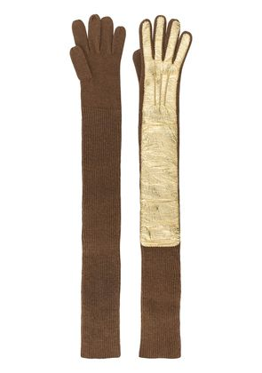 Rochas long ribbed gloves - Brown