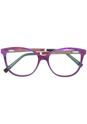 Gold And Wood round frame glasses - Pink