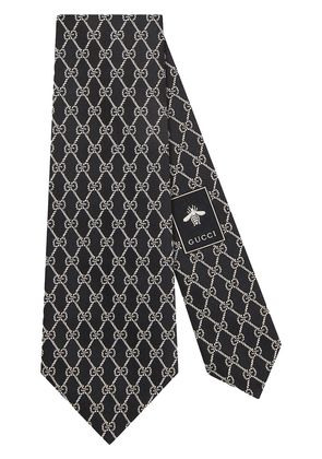 Gucci GG chains silk tie - Black