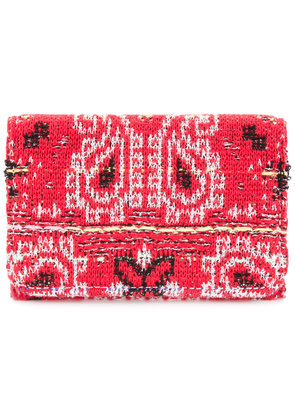 COOHEM knit tweed bandana cardholder - Red