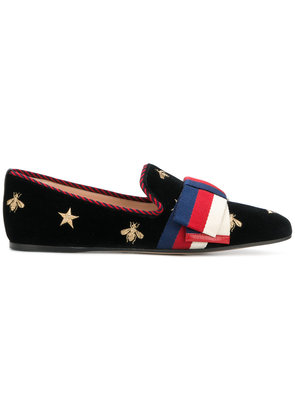 Gucci gold embroidered loafers - Black