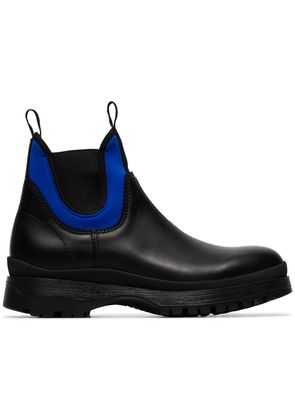 Prada black leather slip on Brixxen high top boots