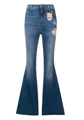 Dolce & Gabbana patched boot-cut jeans - Blue