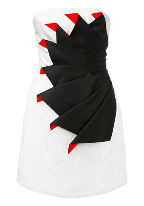 Capucci strapless folded cocktail dress - White