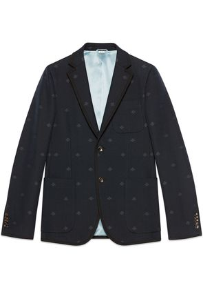 Gucci Monaco striped jacket with bees - Blue
