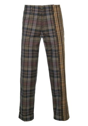 Kolor two-tone plaid print cropped trousers - Brown