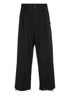 Sulvam raw edge cropped wide-leg trousers - Black