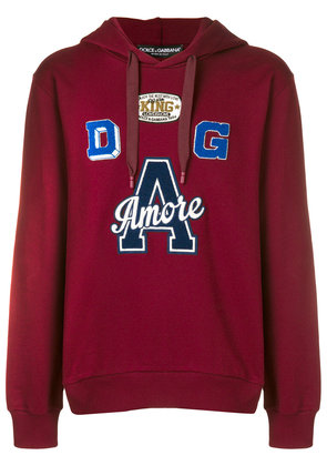 Dolce & Gabbana Amore patch hoodie - Red