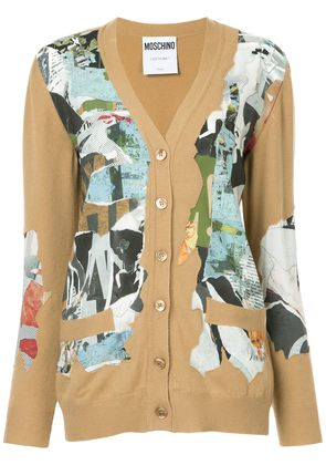 Moschino papier decoupage print cardigan - Brown
