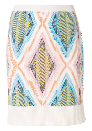 Barrie diamond ribbed skirt - White