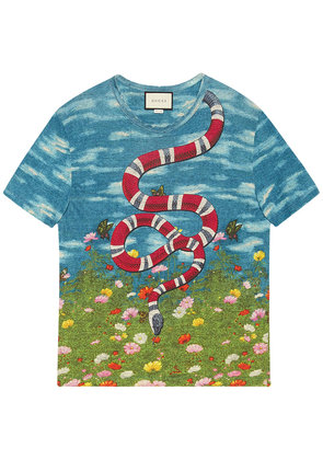 Gucci T-shirt with sky and garden print - Blue