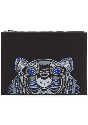 Kenzo embroidered tiger clutch bag - Black