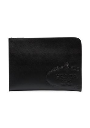 Prada black logo embossed leather zipped pouch