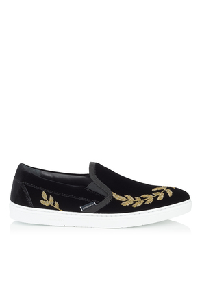 GROVE Black Velvet Slip On Trainers with Gold Feather Embroidery