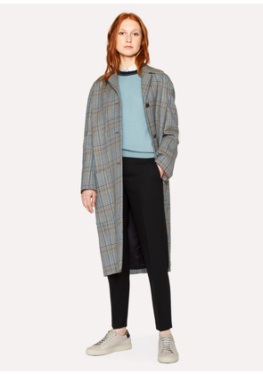 Women's Grey Checked Wool-Cotton Cocoon Coat