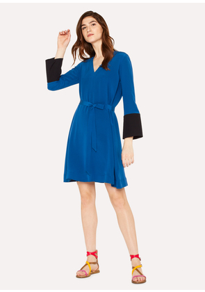 Women's Petrol Blue V-Neck Dress With Contrasting Cuffs