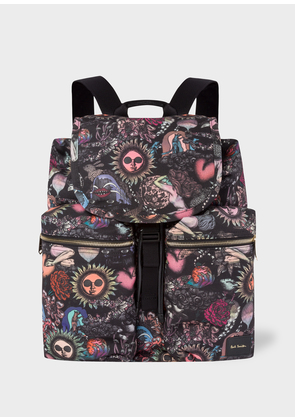 Men's 'Psychedelic Sun' Print Flap Canvas Backpack